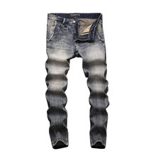 2019 Italian Vintage Designer Men Jeans Light Color Slim Fit Cotton Stretch Pants Brand Classical Men,New