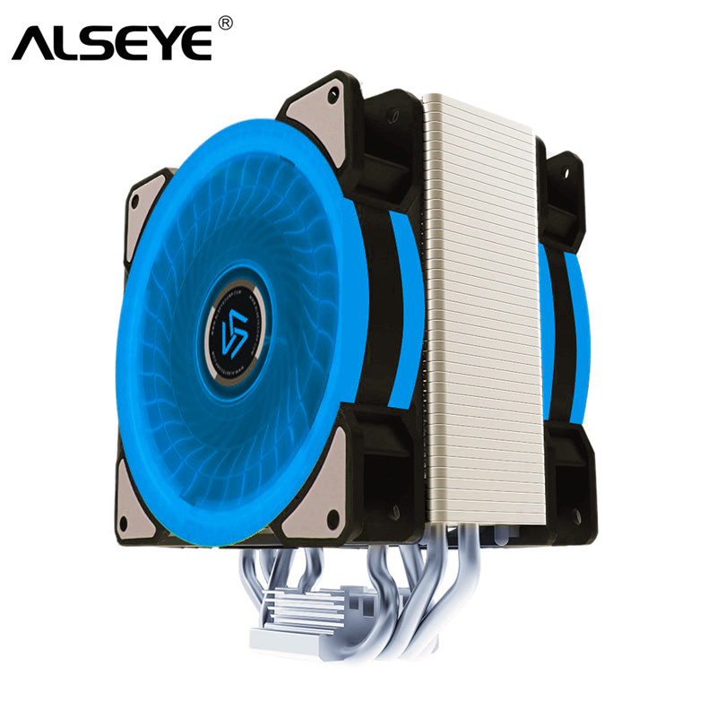 ALSEYE CPU <font><b>Cooler</b></font> 4 Heatpipes LED 4Pin PWM 120mm Fan <font><b>cooler</b></font> for LGA 1155/1151/<font><b>1156</b></font>/775/1366/2011/ AM2+/AM3+/AM4 image