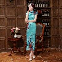 Nowy Styl damska Satynowa Cheongsam Chiński Tradycyjny Długo Qipao Topy Sexy płaszcza Klub Wear Sukienka Kwiat S M L XL XXL XXXL
