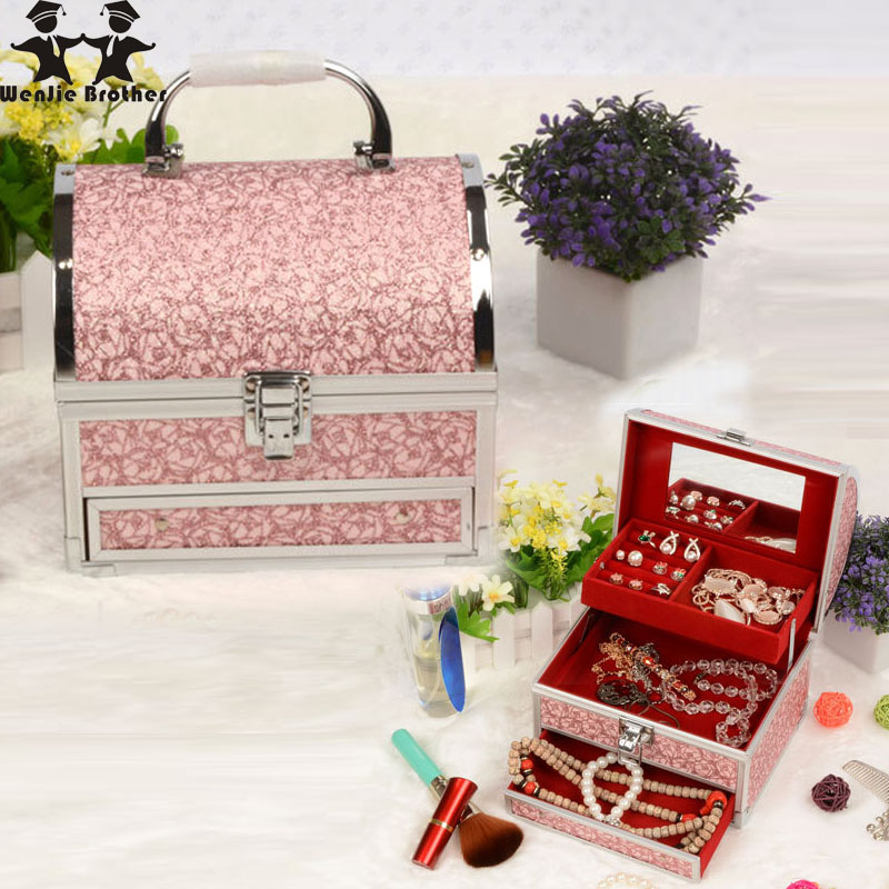 wenjie brother quality hot selling Make up Box with mirror Makeup Case Beauty Case Cosmetic Bag Multi Tiers Lockable Jewelry Box hot sale professional aluminium alloy make up box makeup case beauty case cosmetic bag multi tiers lockable jewelry box