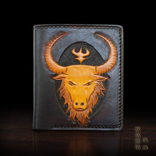 OLG. YAT The Cattle handmade carving wallet  Men's brief paragraph(vertical)purse/ wallet Italian pure leather wallets