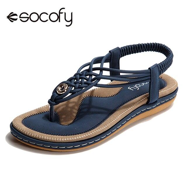 db48b7bdefca Socofy Plus Size Beach Summer Sandals Women Shoes Clip Toe Flip Flops  Bohemian Flat Heels Sandals Soft Slip-on Slingback Shoes