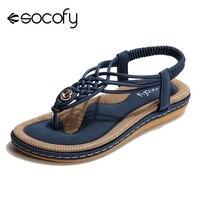 Socofy Plus Size Beach Summer Sandals Women Shoes Clip Toe Flip Flops Bohemian Flat Heels Sandals Soft Slip on Slingback Shoes