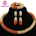 Popular Coral White African Crystal Beads Wedding Party Jewelry Set Gold Costume Necklace Set Crystal Free shipping WA965