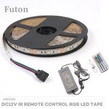 5m DC12V IR Remote Control RGB LED Light Strip With Adapter SMD5050 Waterproof  Flexible Tape For TV Backlight,Wardrobe Light цены онлайн