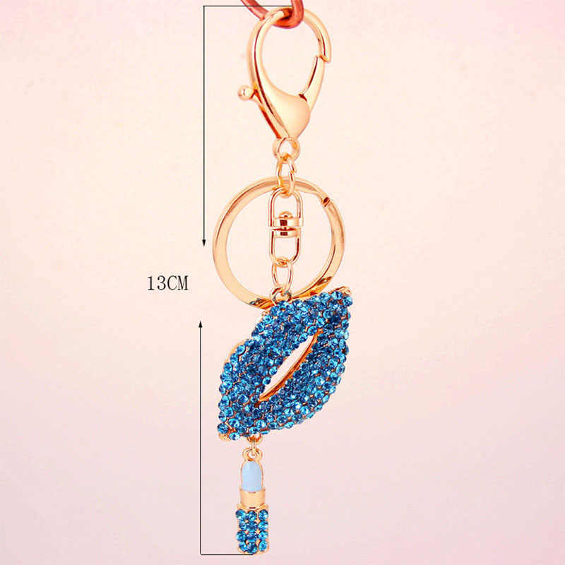 90e8b3e482 RE Sexy Lipstick Lips Crystal Keychain Trinket Rhinestone Car Key chain Bag  Charm Key rings For A Woman keys accessories J3140