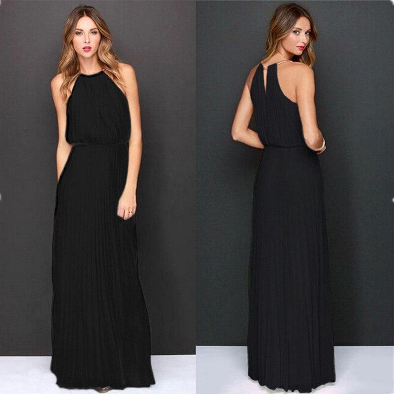 Summer Women Sexy Long Party Dresses 2018 Sleeveless Elegant Casual Pleated Chiffon  Maxi Dress Vestido De Festa New Plus Size-in Dresses from Women s ... ebe6ea4ab990