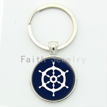 Charm Minimalist Style Blue White Steering Wheel Key Chain Anchor Keychain Jewelry Personalized Nautical Gift KC205(China)