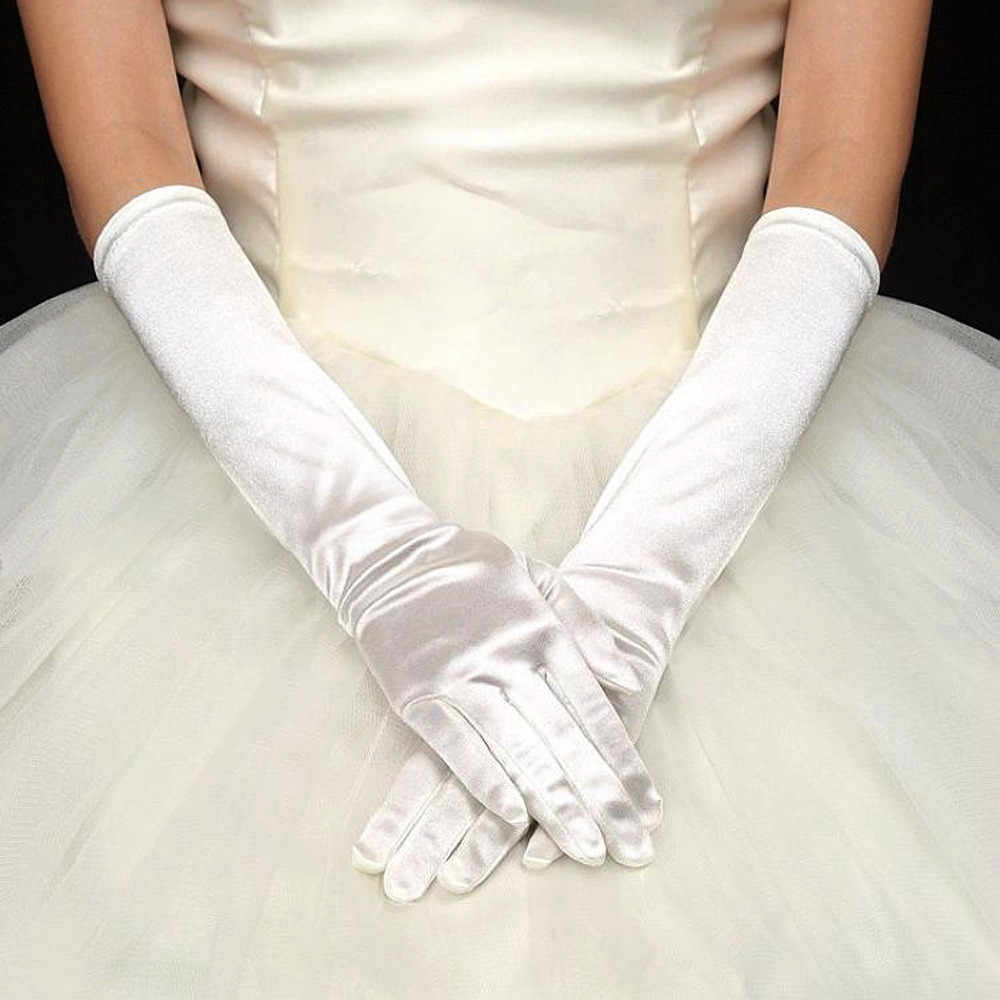 30 Glove 2019 ถุงมือผู้หญิง Elegant ซาตินถุงมือยาว Opera Evening PARTY PROM ถุงมือ luvas femininas Guantes Invierno Mujer