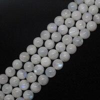 Mini. order is $7! 12mm Natuurlijke Maansteen Gloeiende Blauwe licht Een + Ronde Losse Kralen 15