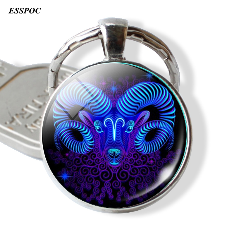 12 Constellation Leo Virgo Key Chains Glass Cabochon Pendant Zodiac Sign Key Rings Silver Bag Pendant Keychain Birthday Gift