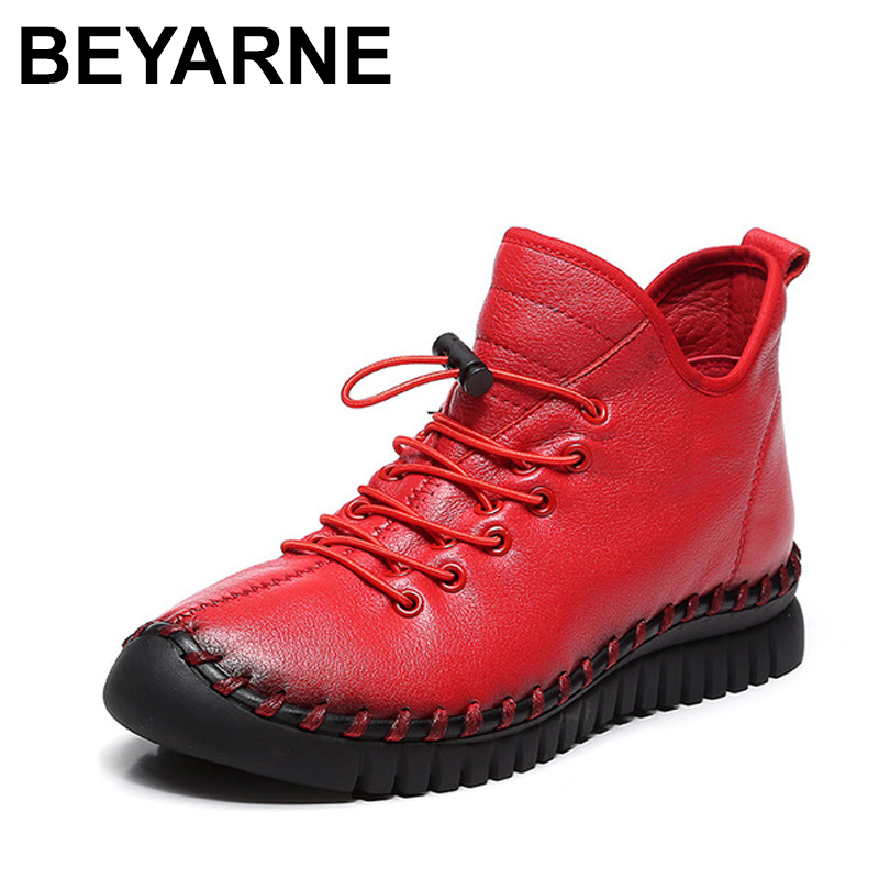 BEYARNES New women Genuine Leather Boots Vintage Style Flat Booties Soft Cowhide Women's Shoes side Zip Ankle Boots Female Winte maylosa 2017 vintage style genuine leather women boots flat booties soft cowhide women s shoes zip ankle boots warm winter shoe