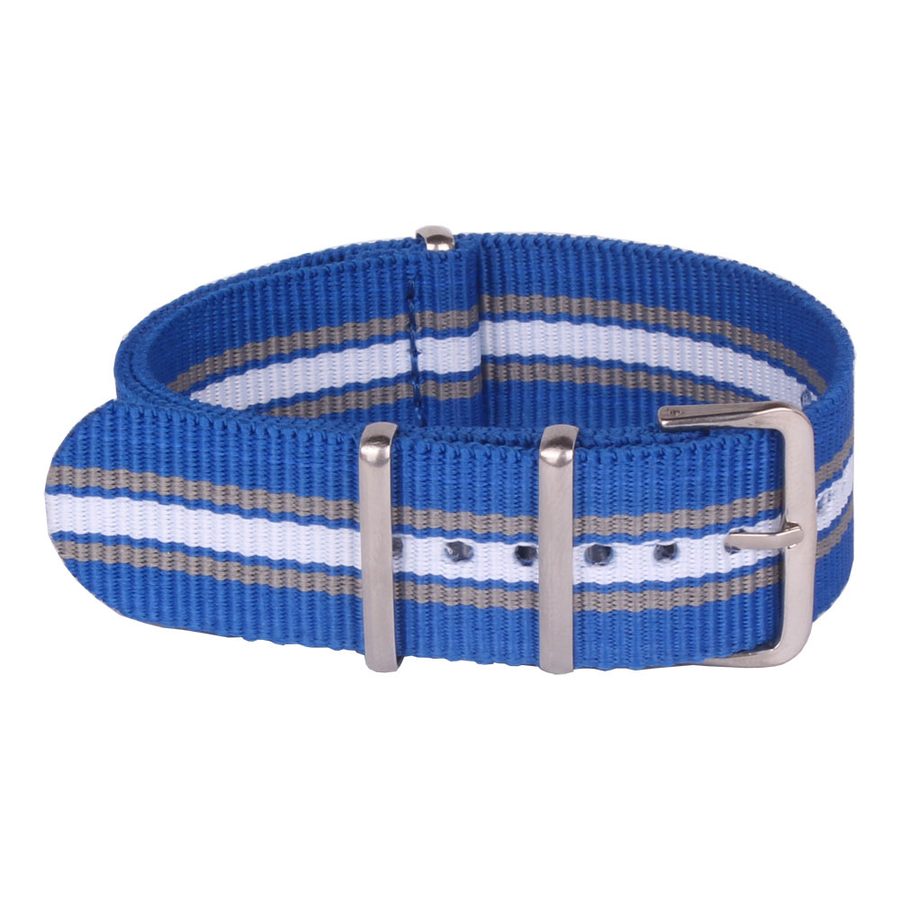 Brand New 22 mm Watchbands Multi Color Blue Nato Fiber Woven Nylon Watch Straps Wristwatch Bands Buckle 22mm to the watches
