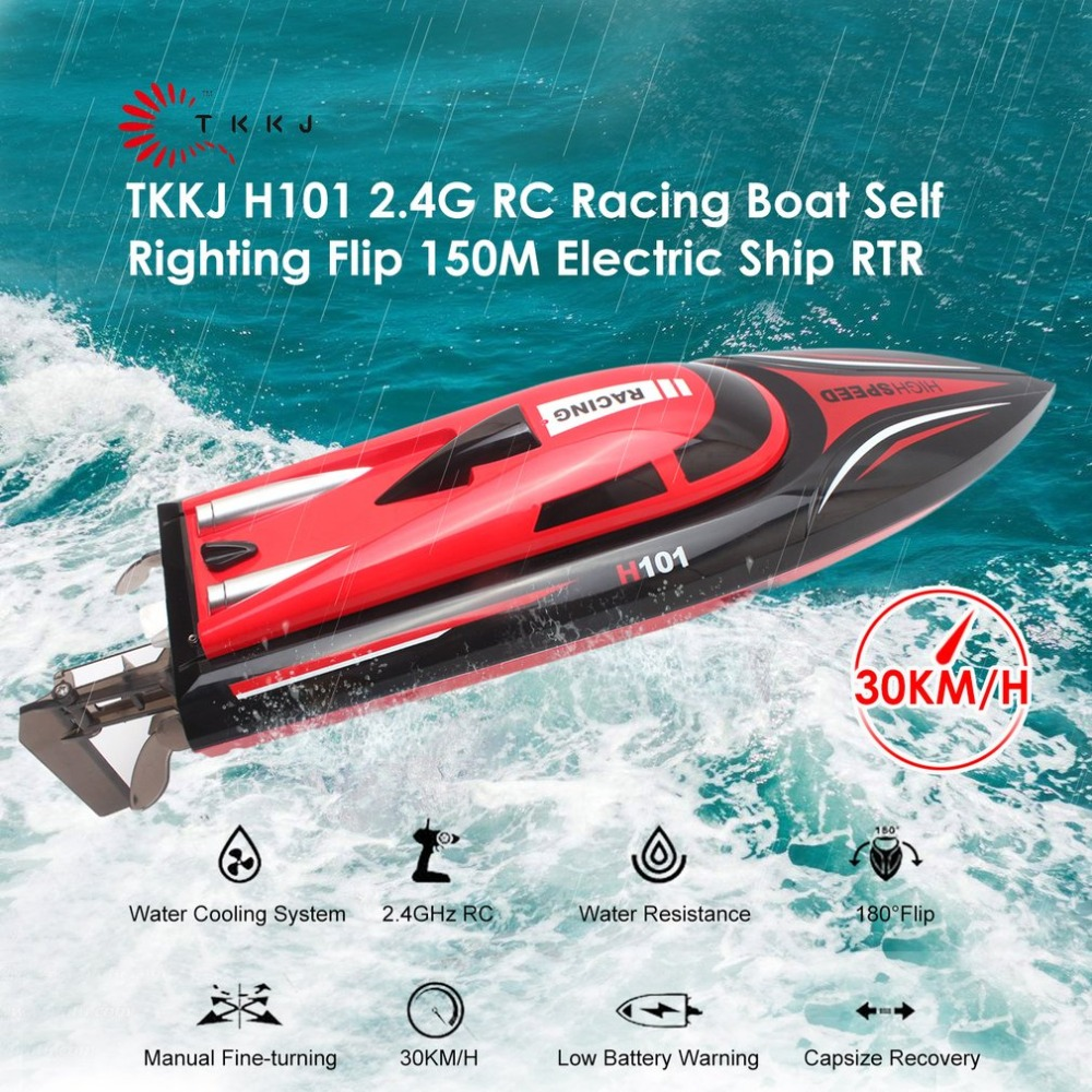 RC Boat H101 2.4GHz 2CH 30km/h 180 Flip Reversion Self Righting Racing Remote Control Boat LCD Screen Toys For children Gifts extra spare h101 008 upper body shell for floureon h101 remote control quadcopter