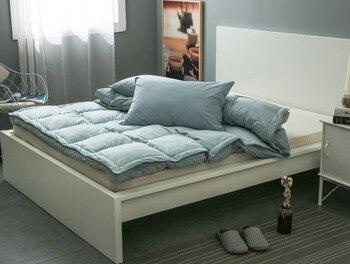 Luxury White Duck Down Mattress Pad 15cm Thickness Mattress Topper Mattress Cover Tatami Mat Bed Folding Mat