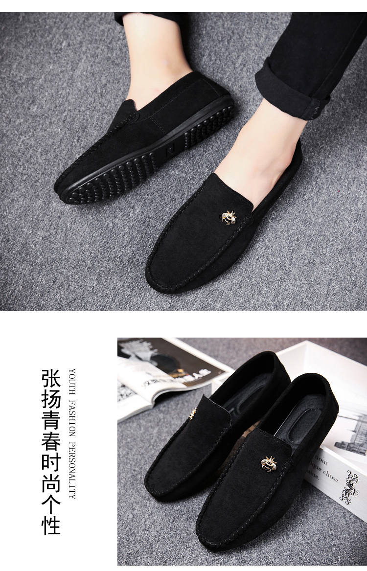 Juyouki Natural Cow Suede Bees Men's Casual Shoes Alligator Style Men Loafers Slip on Lazy Shoes Wiht Male Outdoor Shoes 18
