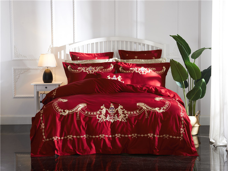 Classic red embroidery 60 long-staple cotton Bedding set Duvet Cover Bed Linen Bed sheet Pillowcases King Queen Size 4/6/7 pcsClassic red embroidery 60 long-staple cotton Bedding set Duvet Cover Bed Linen Bed sheet Pillowcases King Queen Size 4/6/7 pcs
