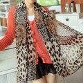 Coreano Senhora sol de verão longo cachecóis grande fino chiffon de seda de Leopardo cachecol xale dual-use lenço extra longo