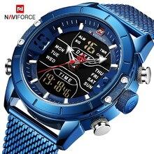 цена на Men Watches Top Luxury Brand Man Military Sport Quartz Wrist Watches Blue Stainless Steel LED Digital Clock Relogio Masculino