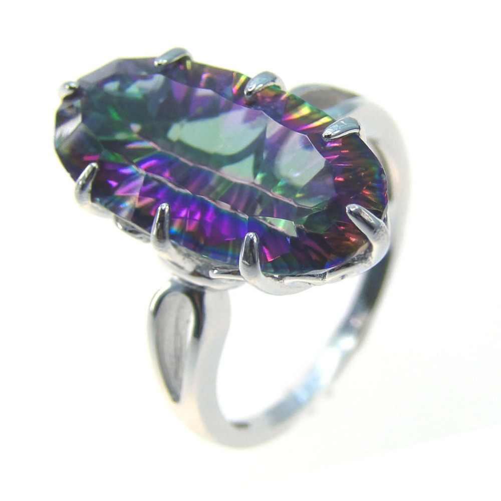 ใหม่ Rainbow Mystic Topaz แหวนเงิน 925 แหวนเครื่องประดับแหวนผู้หญิงการออกแบบที่น่าสนใจแหวนขนาด 5/6 /7/8/9/10/11