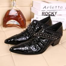 Italian shoes mens high heels zapatos hombre men spike black pointed toe suit brands dress wedding shoes oxford patent leather