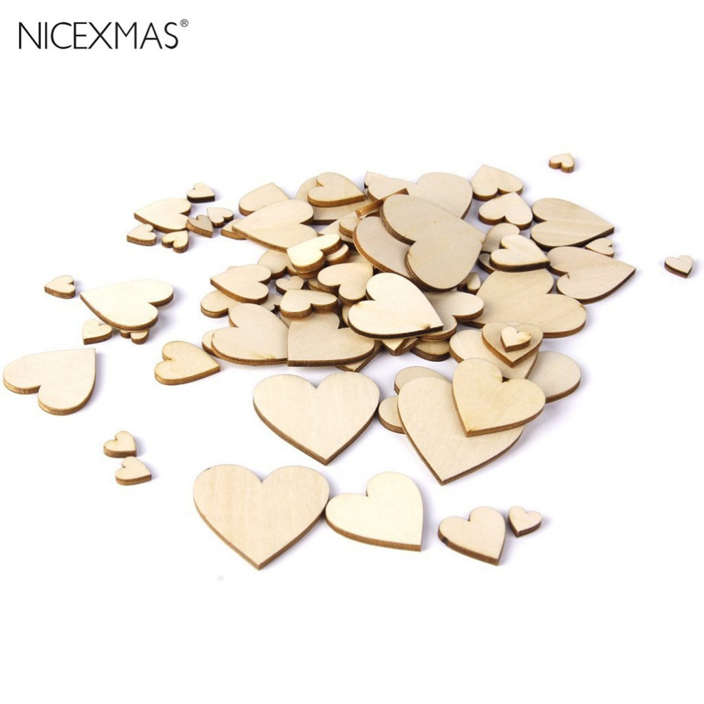 Plain Wood Simple DIY Corazones de madera Adorno Kid Art Decor Scrapbooking Tarjeta artesanal pintada barnizada Lovely Patten