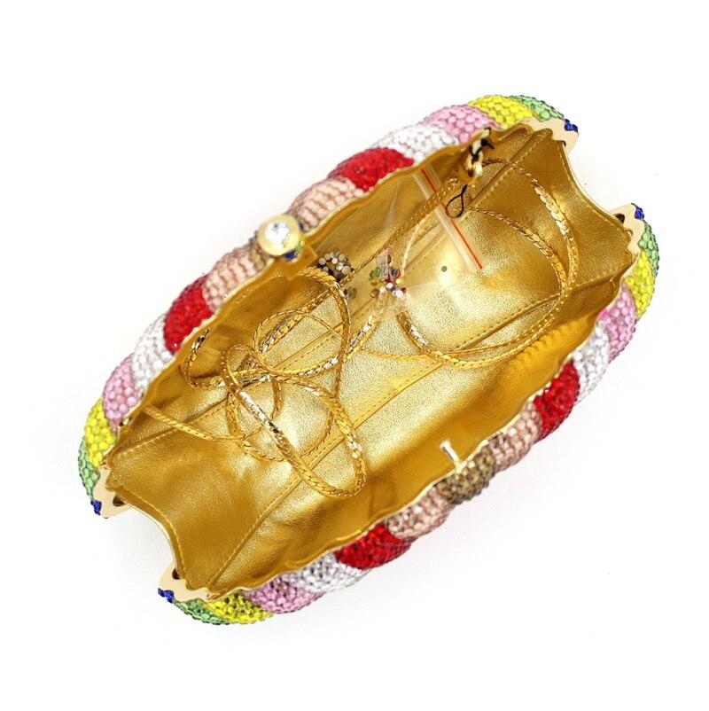 Avec La Partie Smyzh Forme Mode De Des Main Coloré Strass Bags Bourse Shell À Mariage e0081 Cristal Jour Femmes Chaîne Sac Embrayage 35RjqAL4