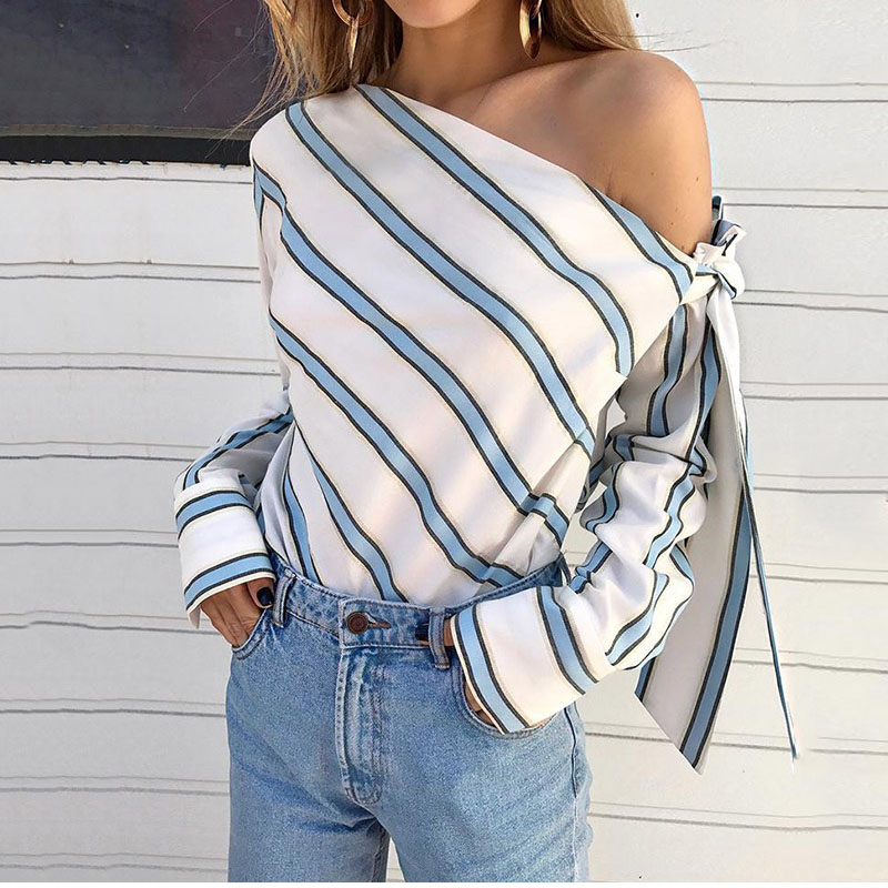 Striped Off Shoulder Bowtie Women's  Blouse Sexy Skew Collar Long Sleeve Womens Blouses 2019 Summer Fashion Casual Top Female