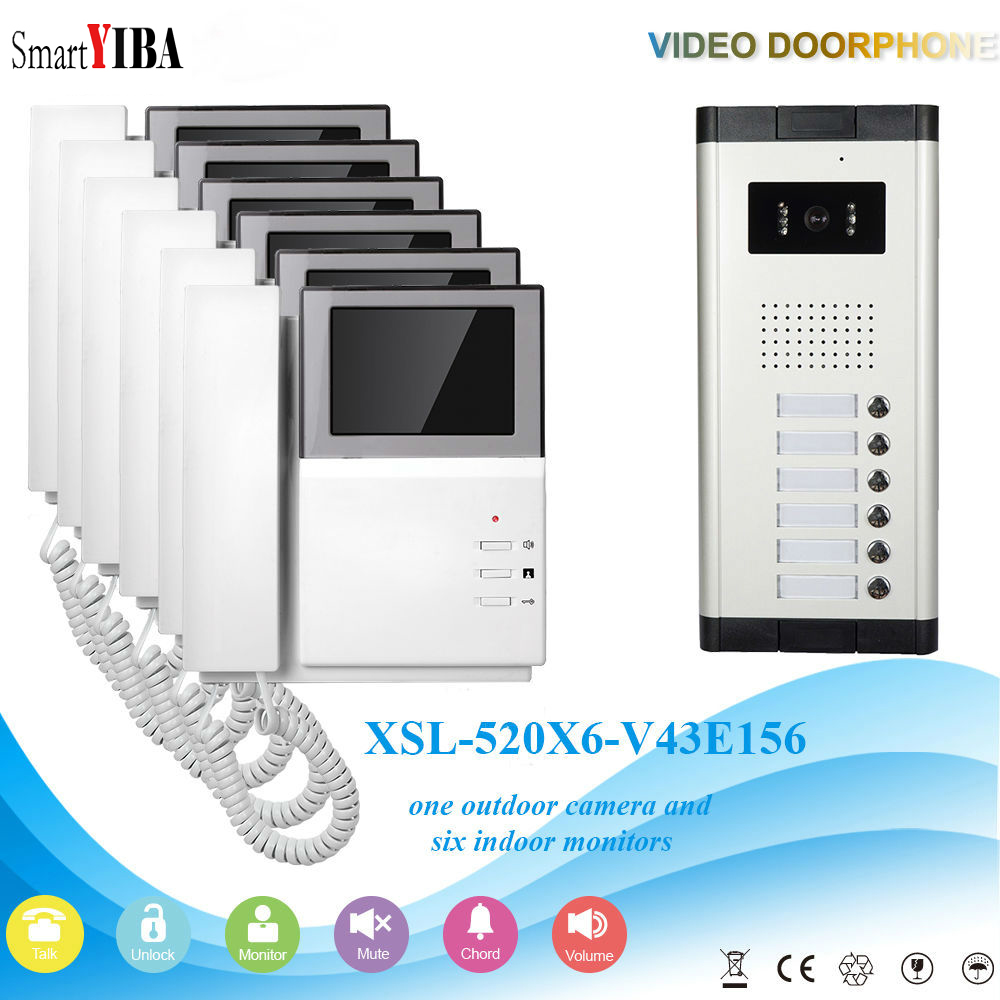 SmartYIBA Apartment Video Intercom 4.3 Inch Video Door Phone Doorbell Video Entry Intercom KIT Night Vision 1 Camera 6 MonitorSmartYIBA Apartment Video Intercom 4.3 Inch Video Door Phone Doorbell Video Entry Intercom KIT Night Vision 1 Camera 6 Monitor