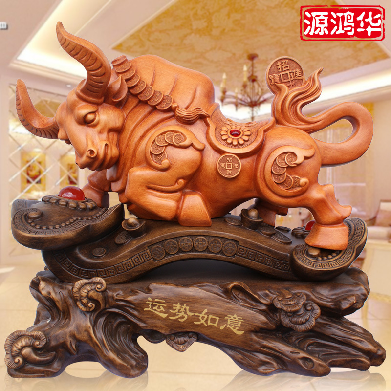 The new source Honghua wood craft ornaments creative cow fortune wishful resin crafts shop office furnishings