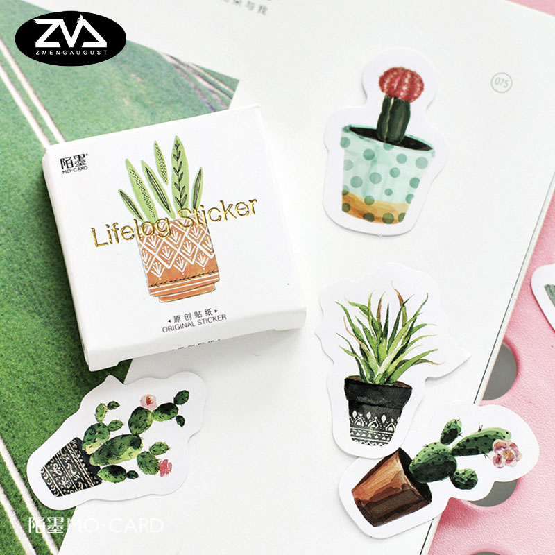 45pcs/pack Kawaii green plant cactus Stickers Cute Diary Decoration Scrapbooking DIY seal Sticker Stationery Free shipping 45pcs box cute animal crystal ball mini paper decoration stickers diy diary scrapbooking seal sticker stationery school supplies