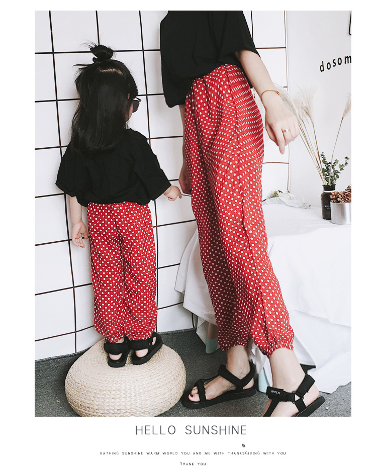 Mother Daughter Clothes 2018 New Summer Baby Girl Lantern Pants Family Look Kids Dot Printed Casual Trousers Pant Mosquito Pants 11