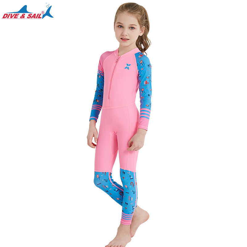 813a947934 Dive Sail One Piece Swimsuit Long Sleeve UPF 50+ Kids Diving Rash Guard  Swimwear For Girl Boy Sun protective Beach Suit Wetsuit