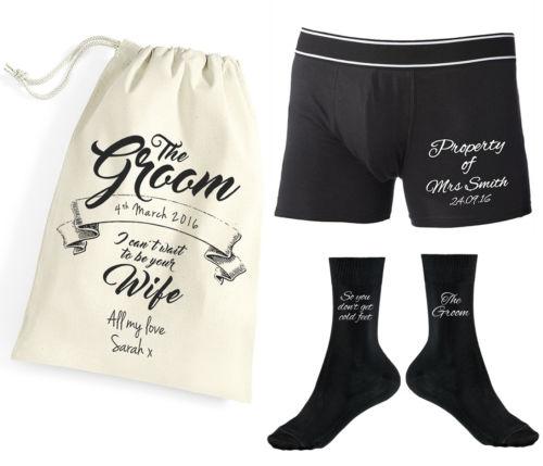 Wedding Socks For Groom | Custom Name Printed Personalised Property Of Mrs Groom Boxer Shorts