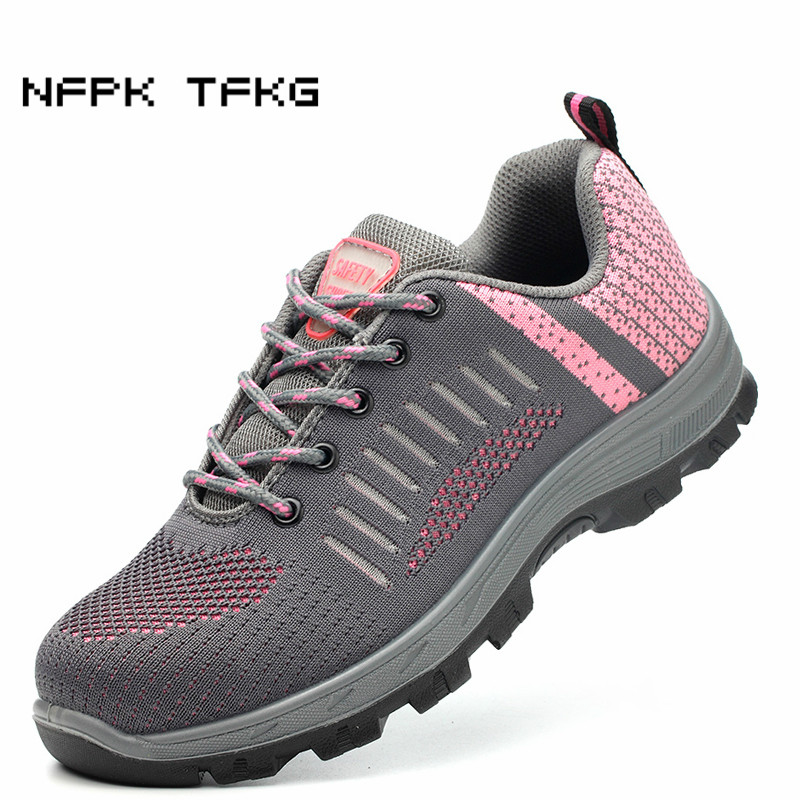 large size womens fashion pink breathable steel toe caps work safety shoes construction site worker tooling security boots mujerlarge size womens fashion pink breathable steel toe caps work safety shoes construction site worker tooling security boots mujer