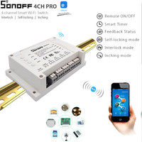 Sonoff 4CH Pro 4 Gang 433MHZ WiFi RF Smart ON OFF Remote Switch Controller Self Locking