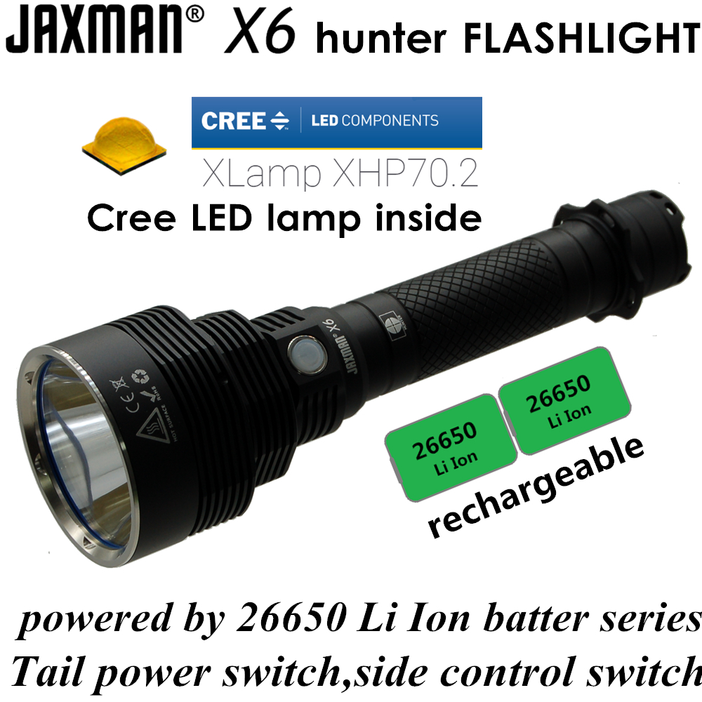 JAXMAN X6 hunter XHP70 2 26650 heavy hard light LED flashlight for night hunting self defense