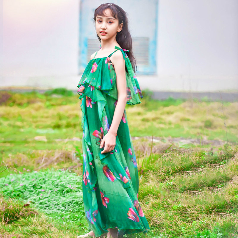2018 Baby Girls Summer Poms Gorgeous Evening Dress Teenage Kids Party Wear Gown Green Sleeves Age56789 10 11 12 13 14 Years Old 2018 princess girls polka dot dress red ruffled layers design sweet country style smocked for age56789 10 11 12 13 14 years old