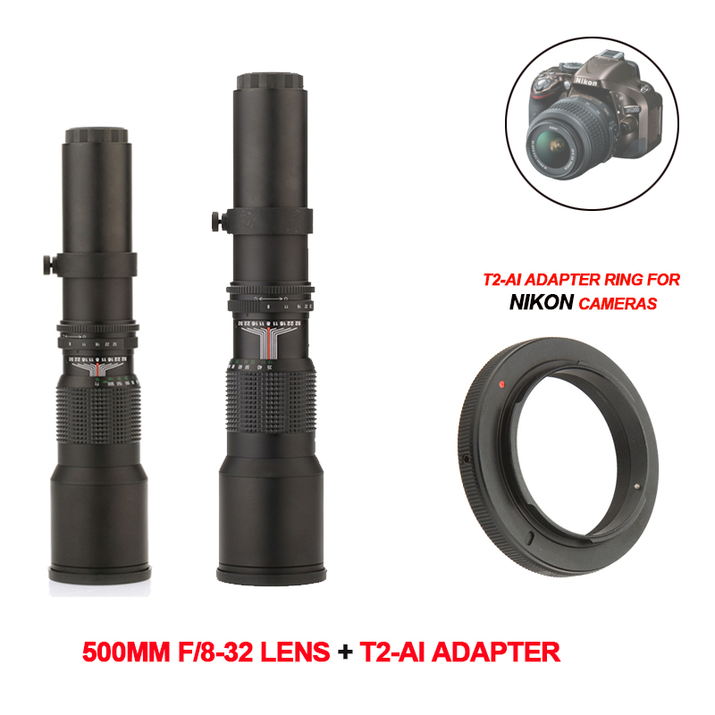 500mm F8.0 objectif téléobjectif manuel Zoom + T2-AI T monture pour Nikon D5000 D7000 D7100 D800 D90 DSLR appareil photo