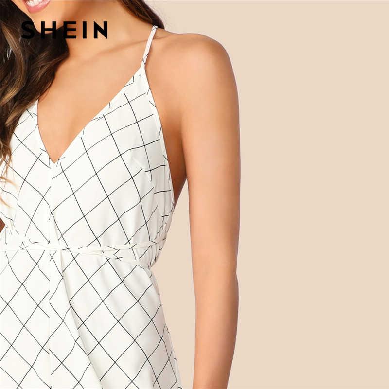 SHEIN Boho белое платье с перекрещивающимися бретелями и открытой спиной, Сетчатое платье макси, летнее платье-комбинация, женское платье с высокой талией, пикантное длинное платье на бретельках