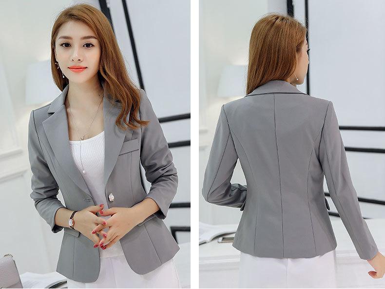 HanOrange Spring Autumn Suit Slim Fashion Long Sleeve Single Button Women Blazer Jacket Gray/Wine Red/Dark Blue S/M/L/XL/XXL
