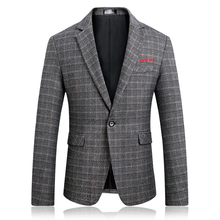 Suit jacket men's spring and autumn embroidery Slim plaid large size S-5XL one single-breasted after the split high quality suit цена