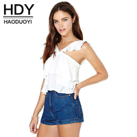 HDY Haoduoyi Fashion Solid Color Women Tank Sleeveless V Neck Ruffles Pullovers Tops Women Backless Slim