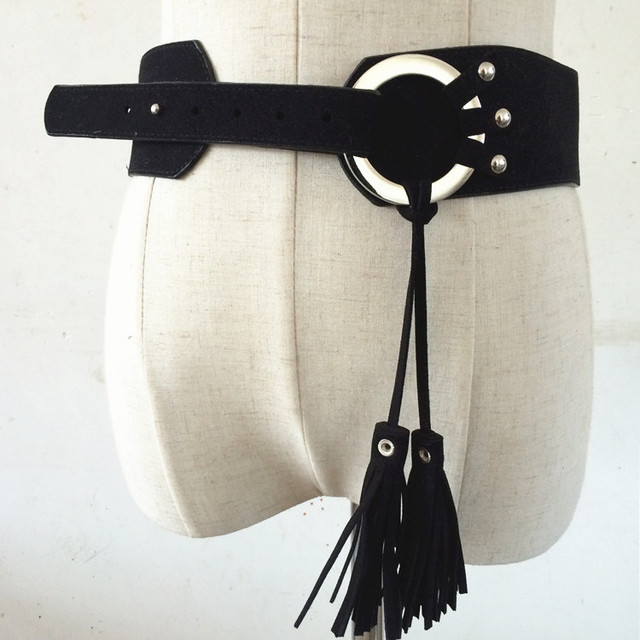 Venta caliente Cinturones de Moda para las mujeres ropa de LA PU correa de Cuero cinturón Ancho femenino de la correa de la borla de la marea círculo de la pretina de Mujer de Alta calidad cinturón