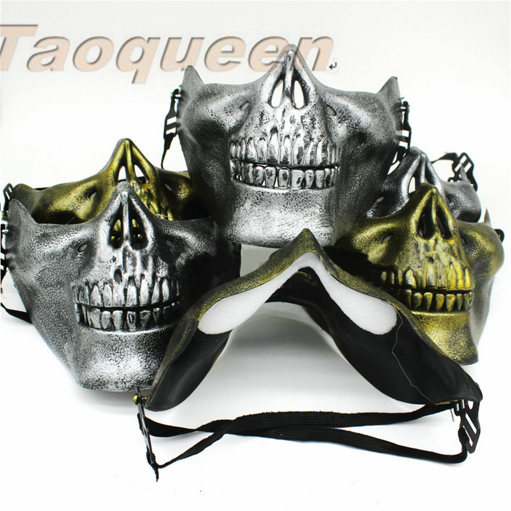 Taoqueen 1 Pc Scary Skull Skeleton Mask Halloween Costume Half Face Masks For Party Cartoon Hat