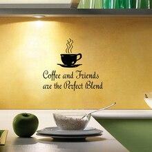 Cocina cotización de la pared tatuajes de café-Café y Amigos son la Combinación Perfecta de, F2053 Cafetería decoración envío libre