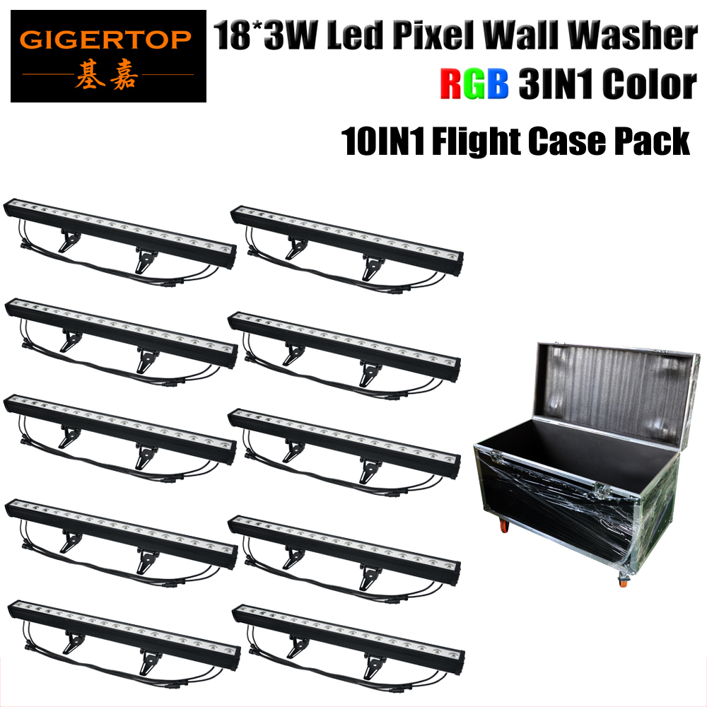 Gigertop TP-WP18B LED Wall Washer RGB 80W 18X3W LED lamp LED Flood Light Staining Light Pixel Barlight Black Case LED floodlight tiptop tp w18 18x3w rgb led pixel wall washer light 3in1 waterproof architectural led lighting outdoor dmx ip65 led flood light