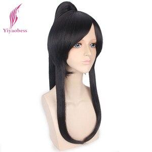 Image 3 - Yiyaobess Peluca de pelo Cosplay con Coleta, 60cm, largo sintético, negro, D. Grey man Yu Kanda, hombre, flequillo