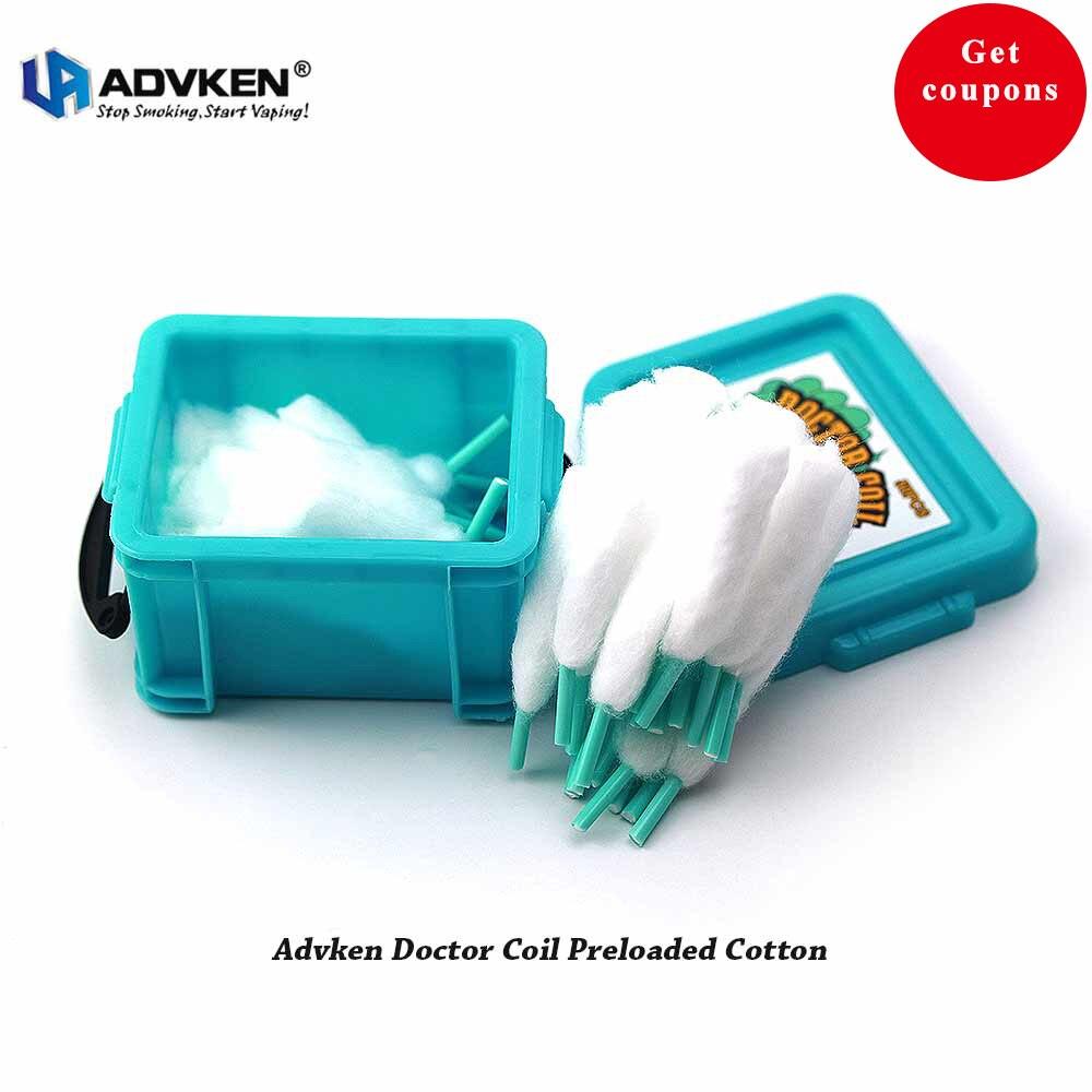 100% natürliche DIY E zigarette Werkzeuge Advken Arzt Spule Werksdaten Baumwolle 129A Organische Baumwolle für Zerstäuber RDA RTA Vape zubehör