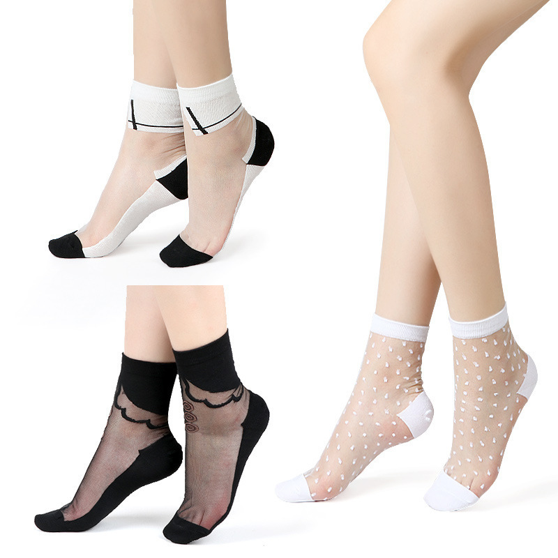 Sexy Fishnet Women Lace Ruffle Soft Comfy Sheer Silk Elastic Mesh Knit Frill Trim Transparent Ankle Funny Socks 1pair=2pcs 2305